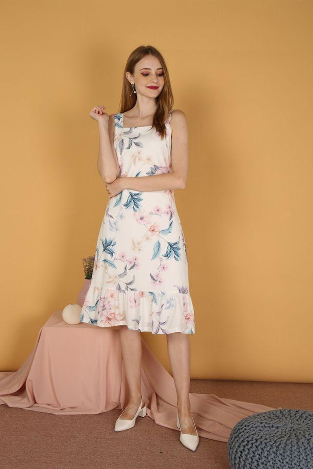 Natsumi Floral Dropwaist Midi Dress (L)