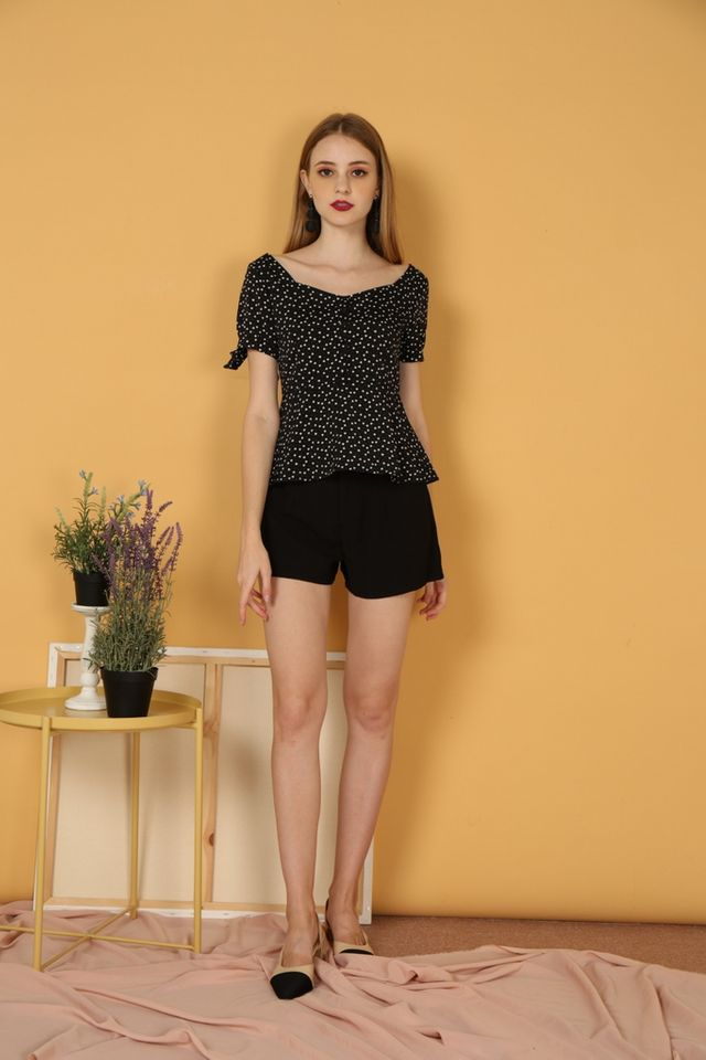 Adelle Heart Ribbon Top in Black