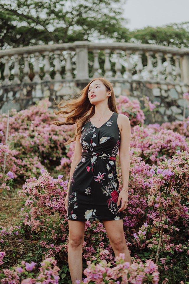 Ellison Floral Ribbon Dress in Black