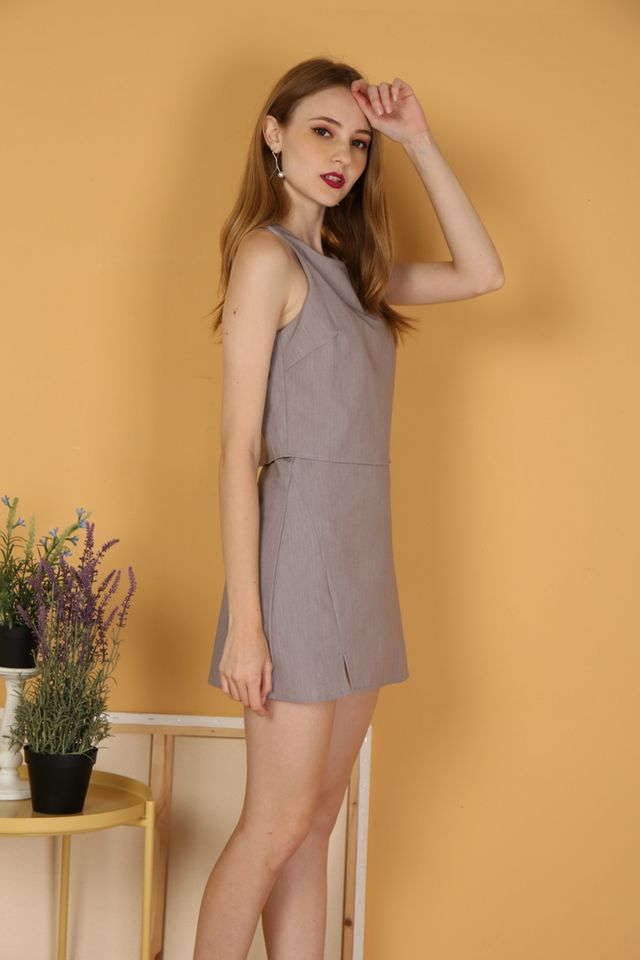 Braelynn Layered Romper in Grey