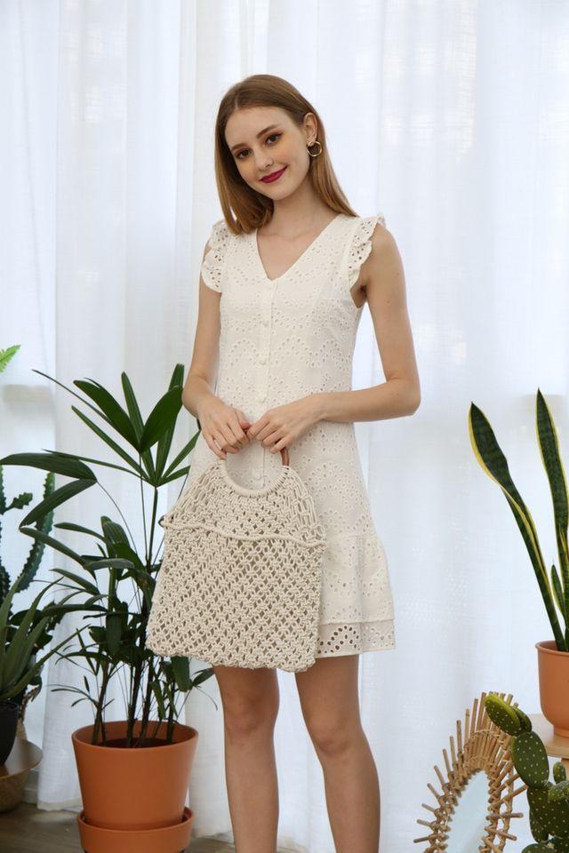 Emmarie Eyelet Dropwaist Dress in White (XS)