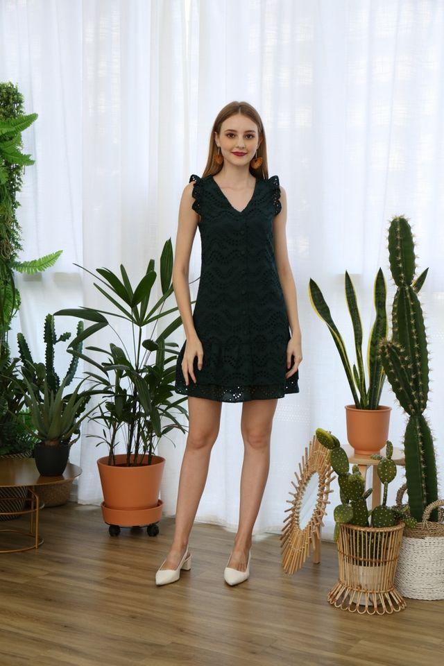 Emmarie Eyelet Dropwaist Dress in Forest (XS)