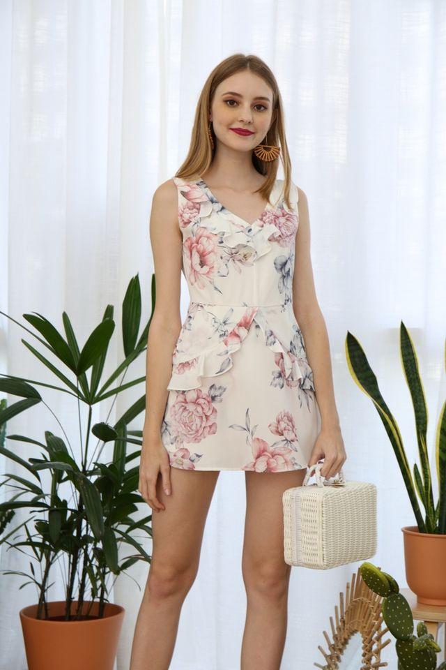 Darlia Floral Skorts Romper in White (XL)
