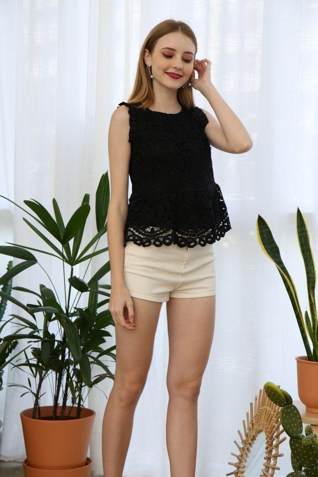Janessa Crochet Peplum Top in Black (XS)