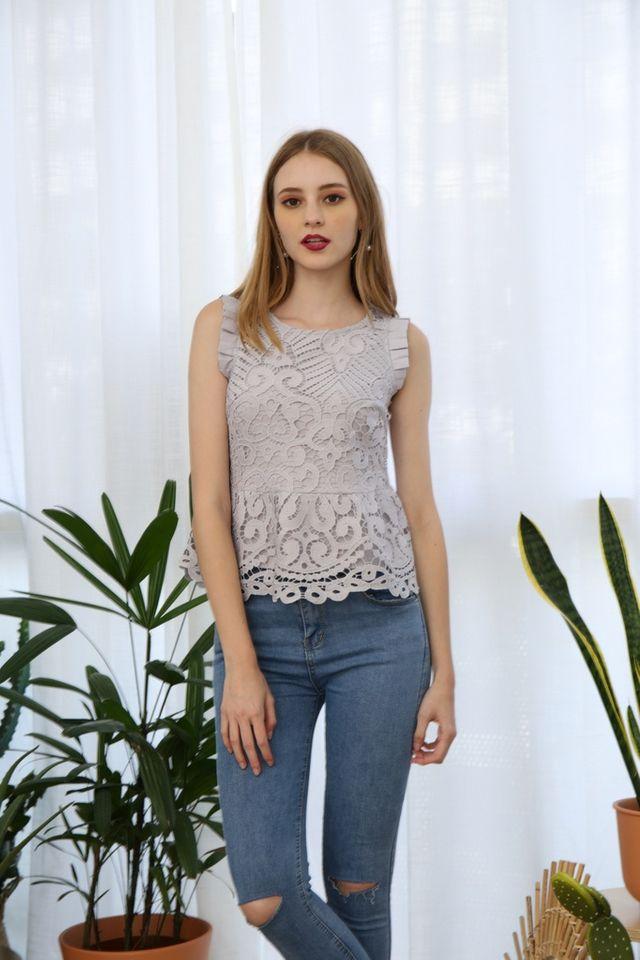 Janessa Crochet Peplum Top in Grey