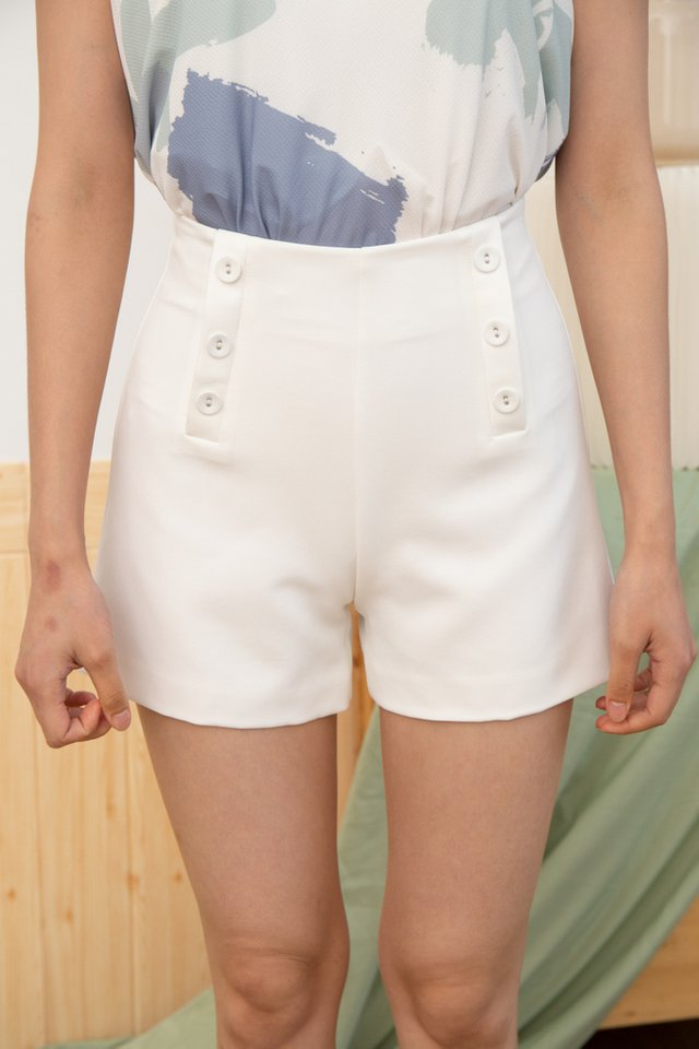 Nylah Faux Button Front Shorts in White