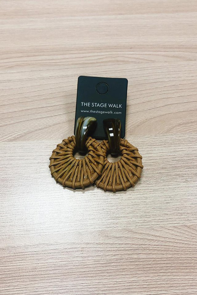 Rattan with Marble Accents Earrings in Brown