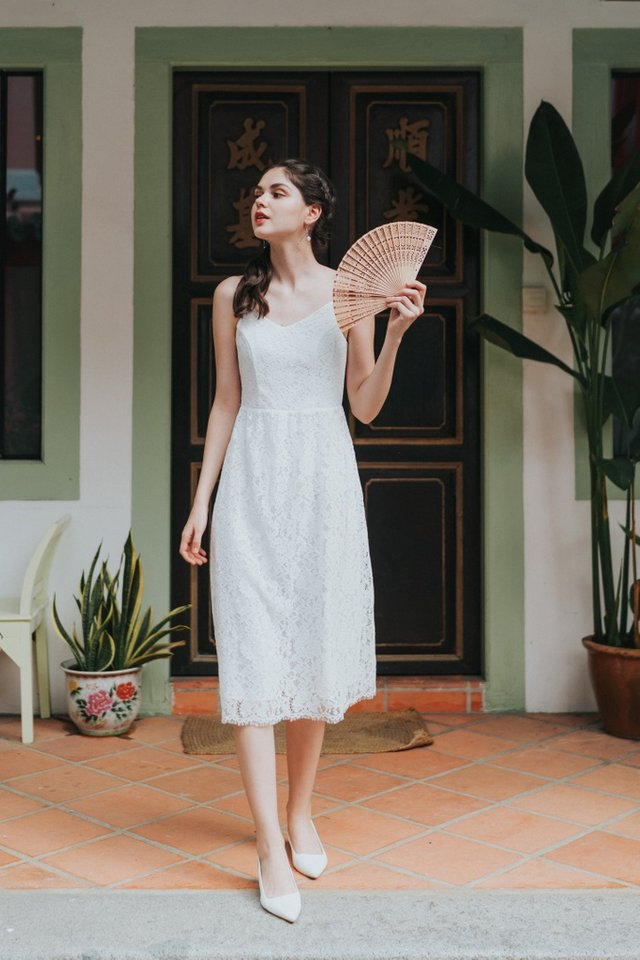 Svetlana Premium Lace Midi Dress in White