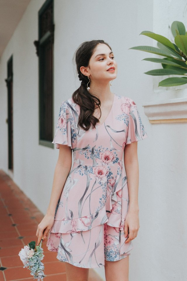 Alibeth Floral Ruffles Dress in Pink (XS)