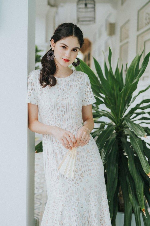 Giselle Premium Lace Mermaid Midi Dress in White