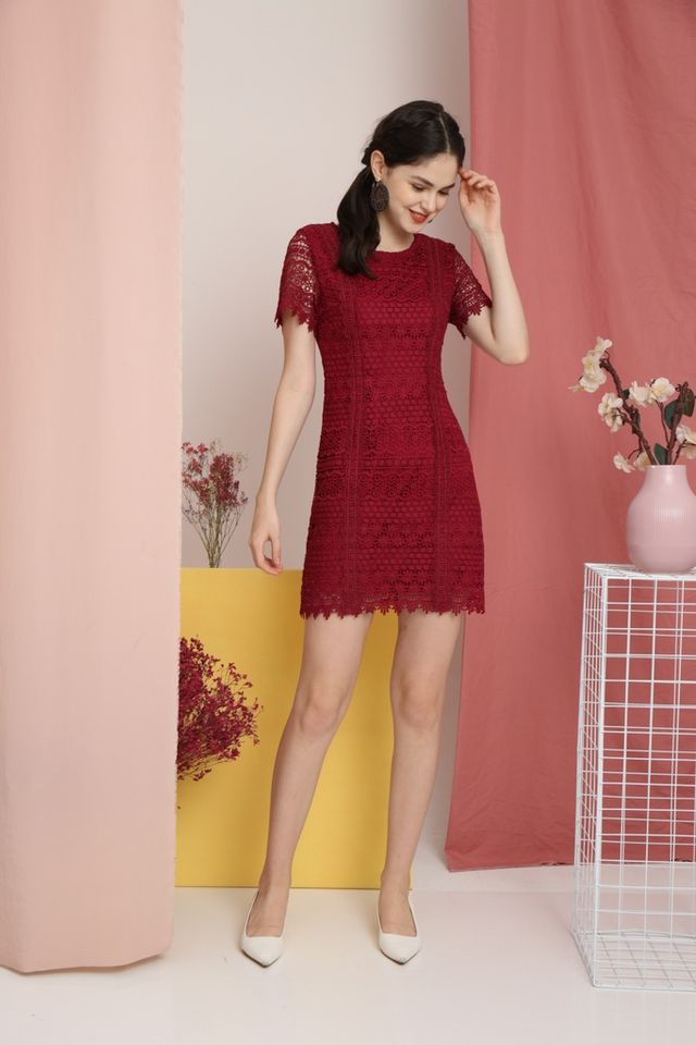 Lerola Premium Crochet Sleeved Dress in Cherry Red (XS)