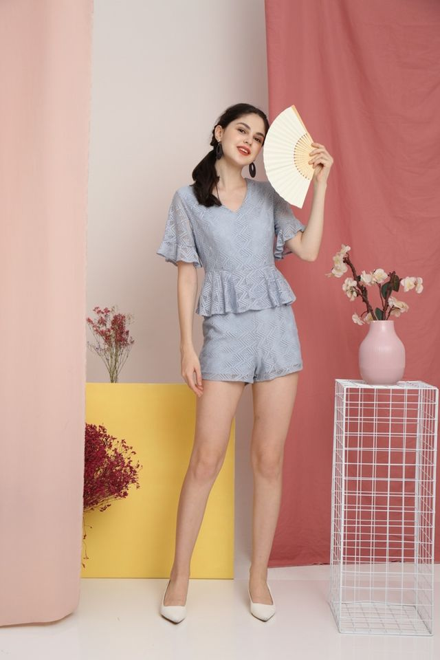 Reiko Lace Peplum Romper in Dusty Blue