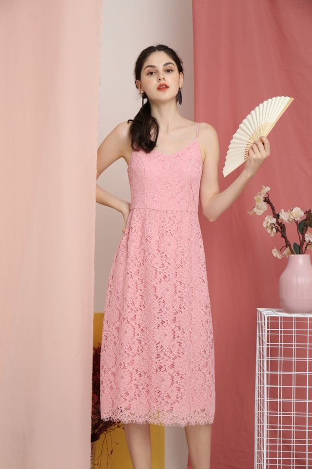 Svetlana Premium Lace Midi Dress in Pink