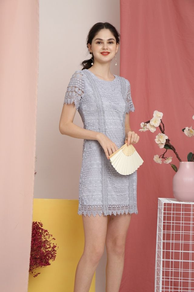 Lerola Premium Crochet Sleeved Dress in Blue (XS)