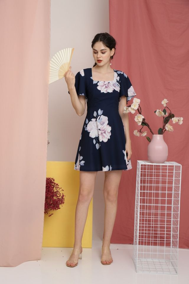 Thisbe Floral Square-Neck Dress in Navy (XS)