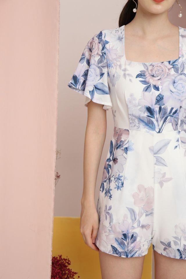 Jodie Floral Square-Neck Romper in White