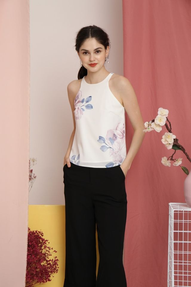 Marcella Floral Cut-In Top in White (XL)