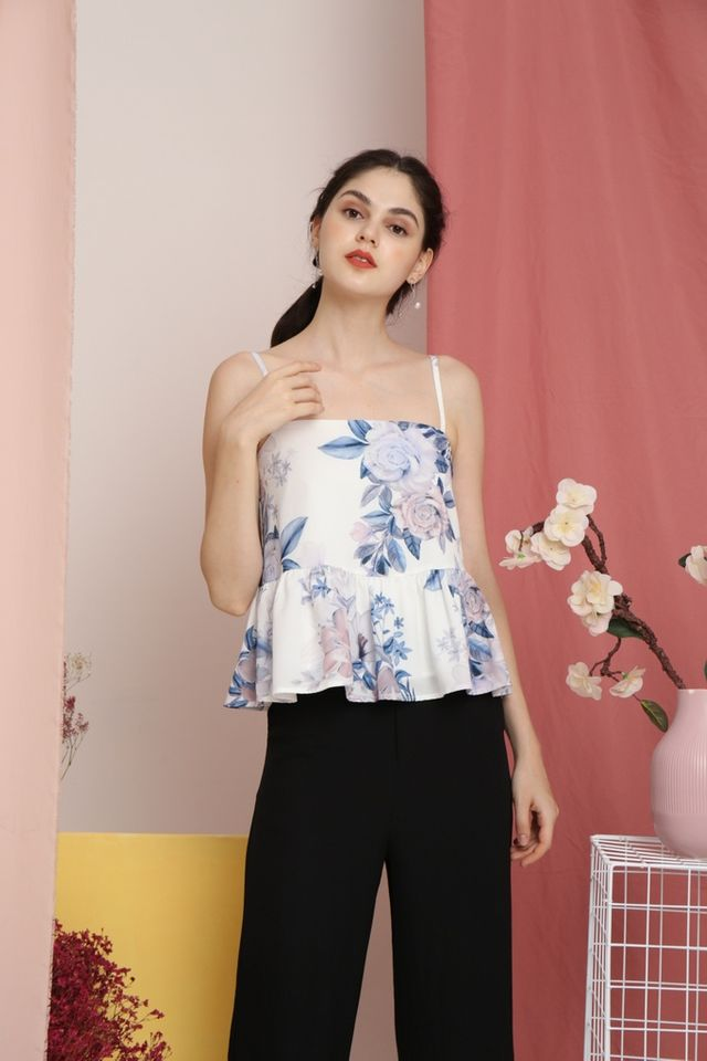Maine Floral Peplum Top in White