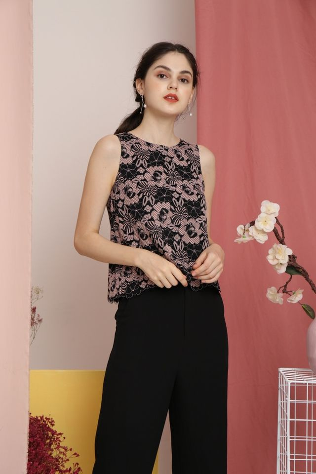 Fayola Lace Top in Black