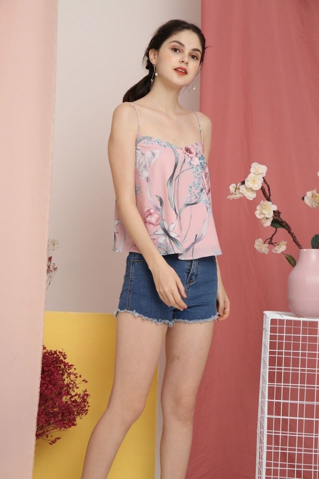 Qiana Floral Sleeveless Top in Pink