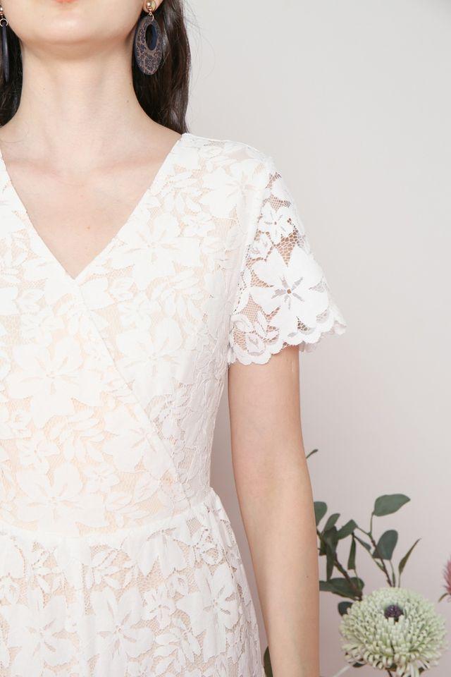 Clarabelle Premium Lace Romper in White