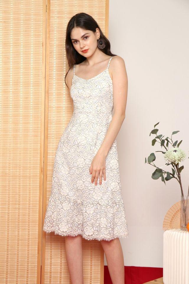 Alma Premium Lace Midi Dress in White