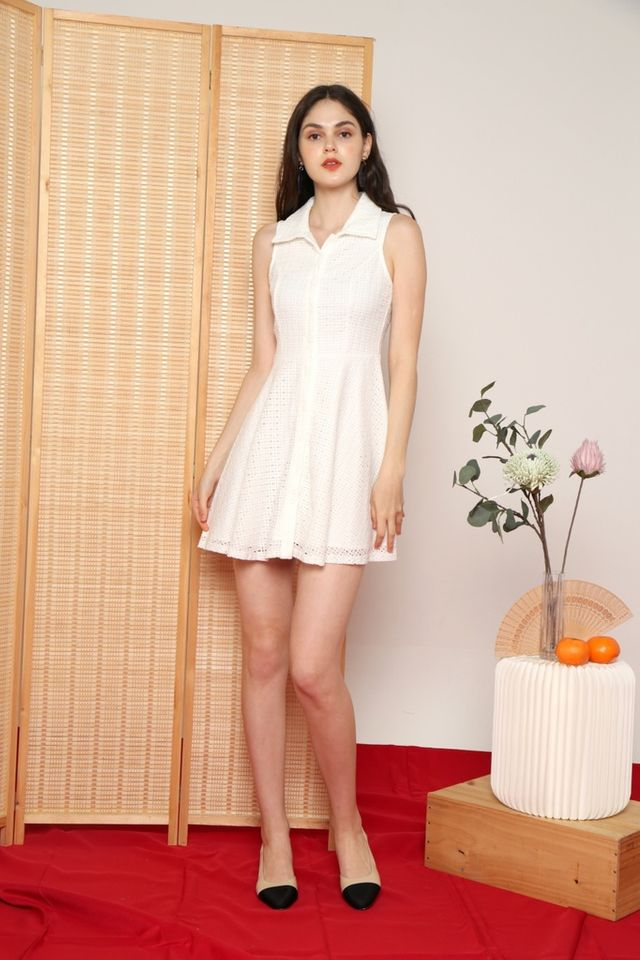 Nanette Premium Collared Eyelet Dress in White (XL)