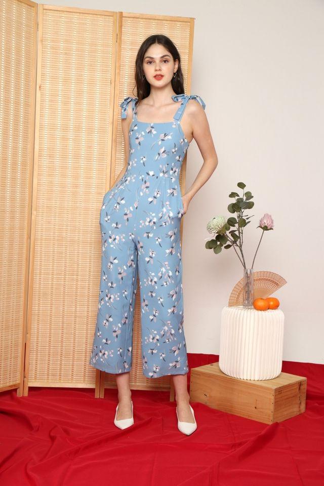 Rhea Floral Ribbon Jumpsuit in Sapphire Blue (XS)