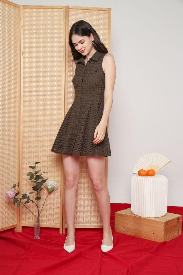 Nanette Premium Collared Eyelet Dress in Olive (S)