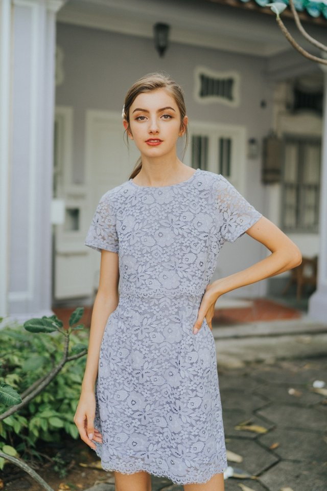 Gace Premium Lace Layered Sleeves Dress in Lavender Grey (XS)