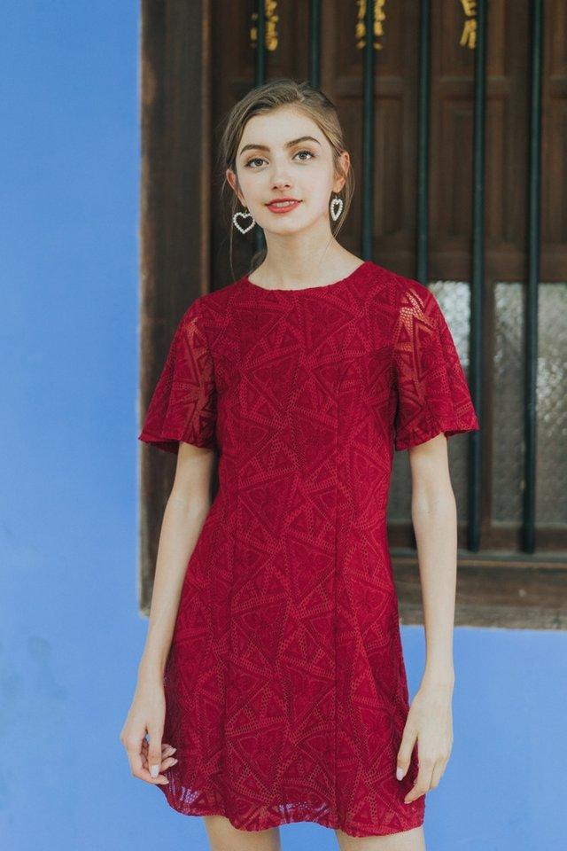Garnett Premium Lace Panel Dress in Red