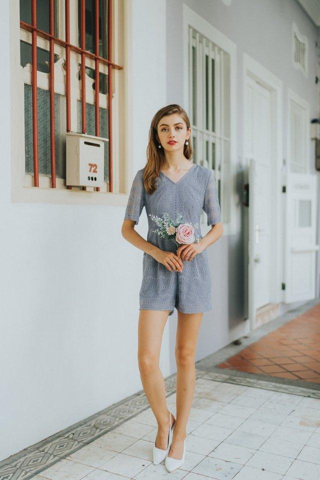 Bella Premium Lace Romper in Lavender Grey (XS)