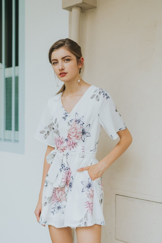 Sammie Floral Pleated Romper in White