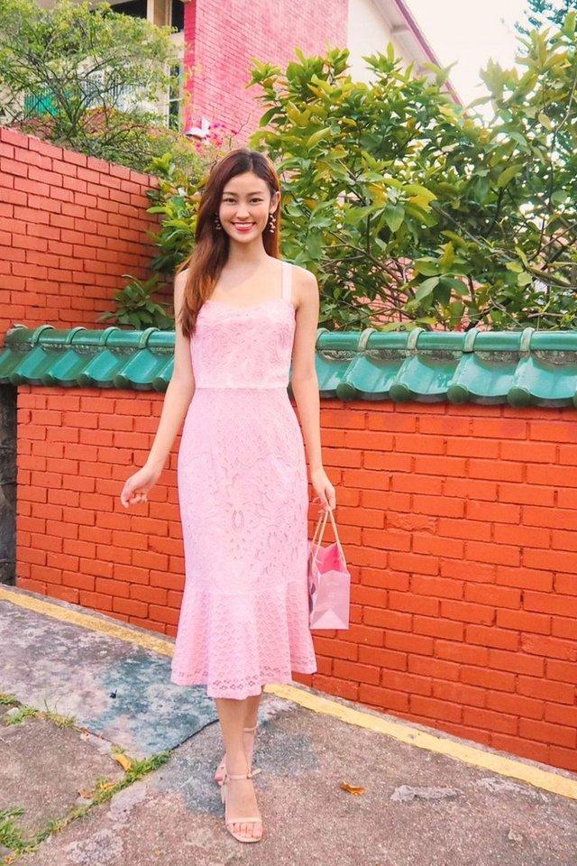 Jori Premium Lace Dropwaist Midi Dress in Pink
