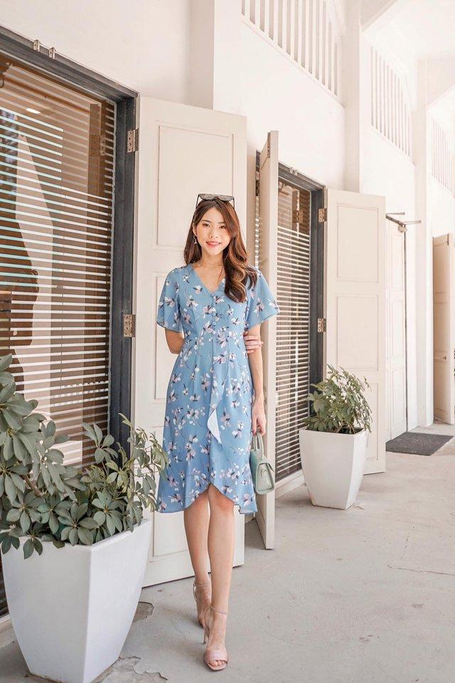 Damica Floral Ruffled Midi Dress in Sapphire Blue