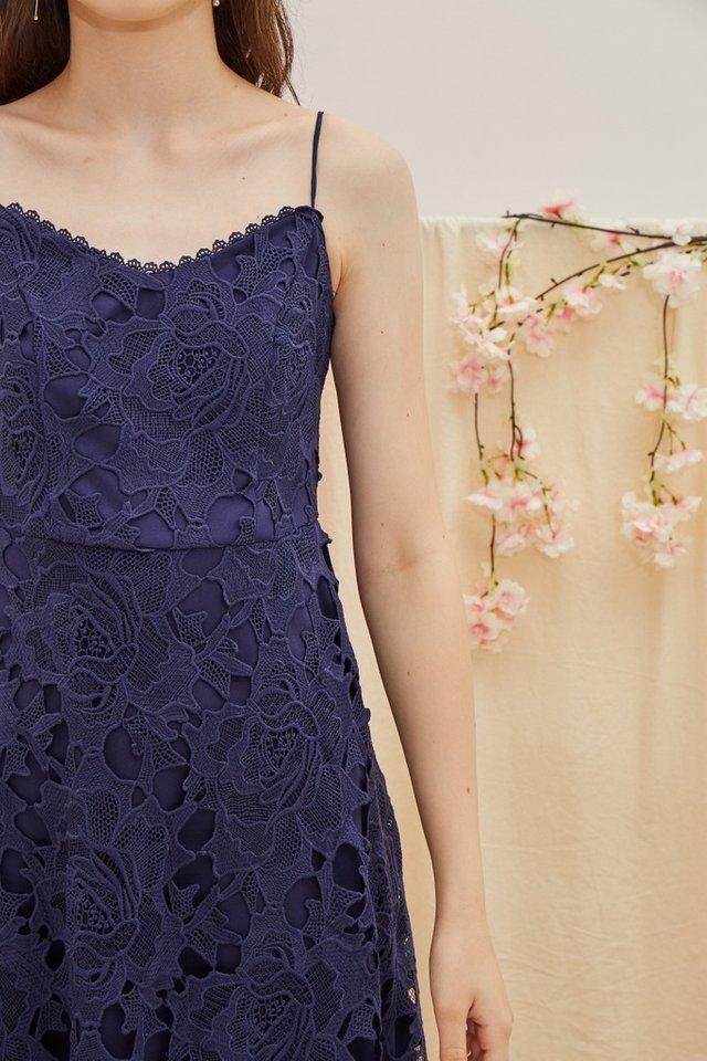 Norah Premium Crochet Midi Dress in Navy