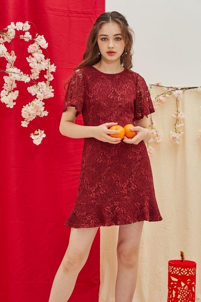 Mable Premium Lace Ruffled Hem Dress in Wine (XS)
