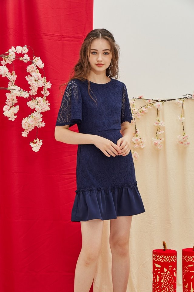 Pearle Premium Lace Ruffled Hem Dress in Navy