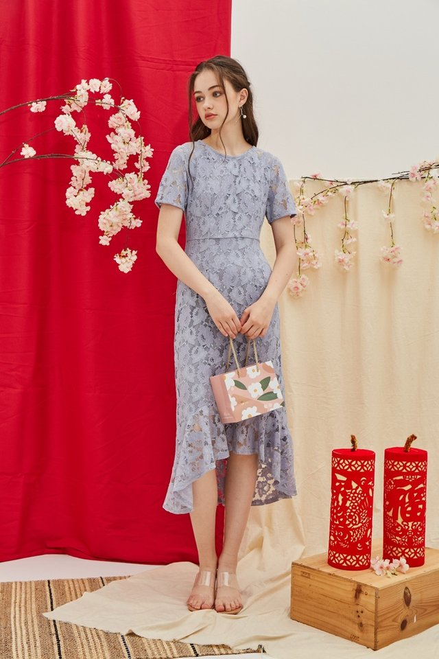 Afia Premium Ruffles Hi-Low Midi Dress in Lavender Grey (XS)