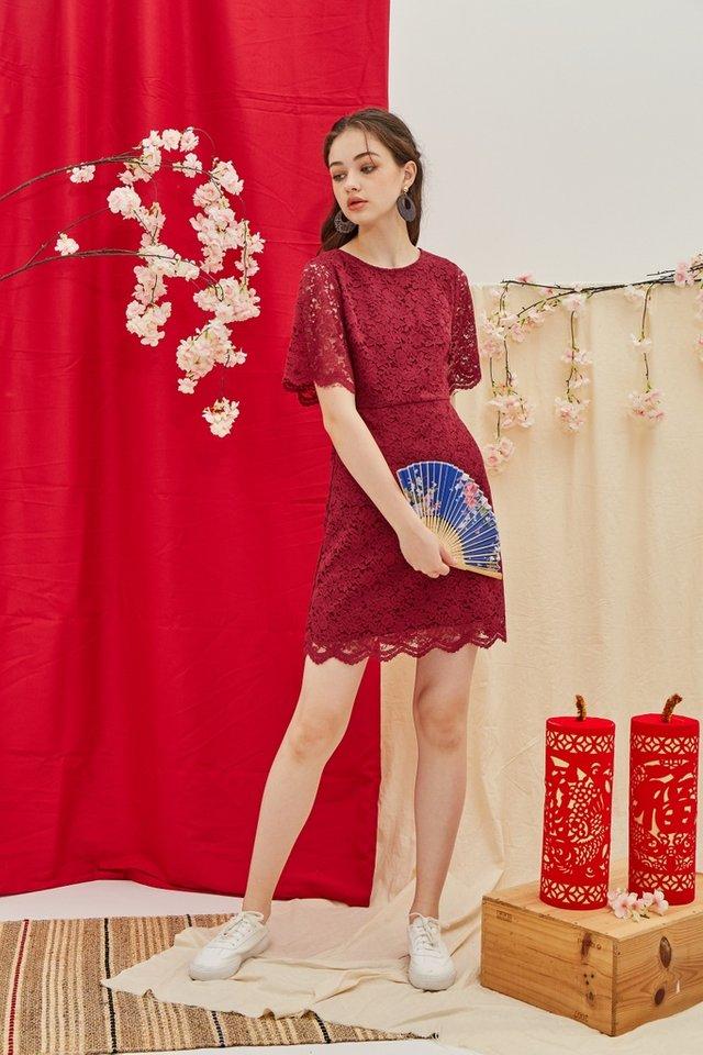 Helene Premium Lace Sleeves Dress in Wine