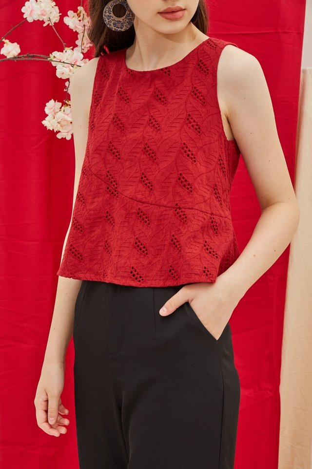 Isabel Eyelet Sleeveless Top in Red