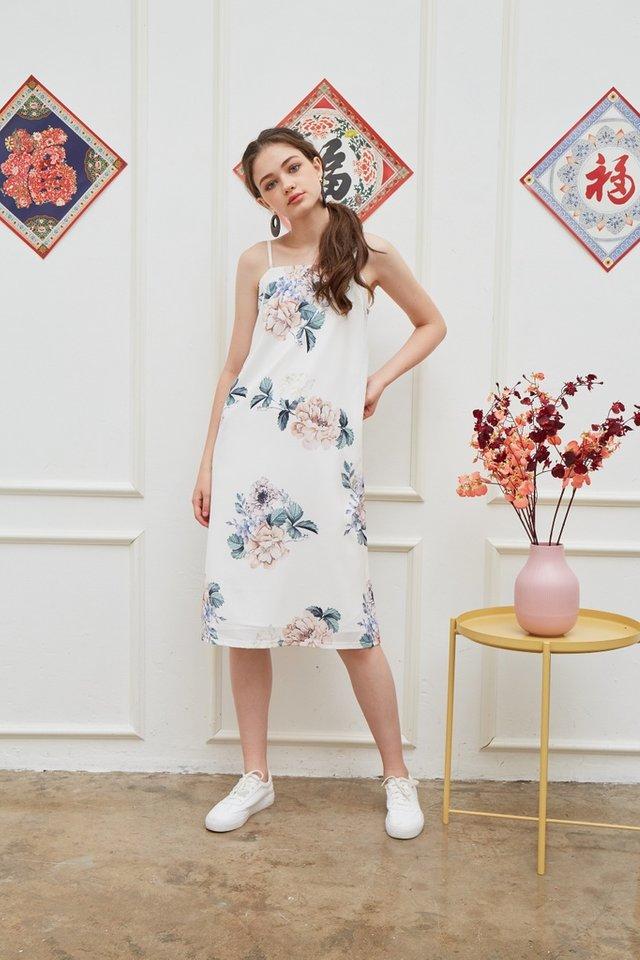 Lucinda Floral Midi Dress in White