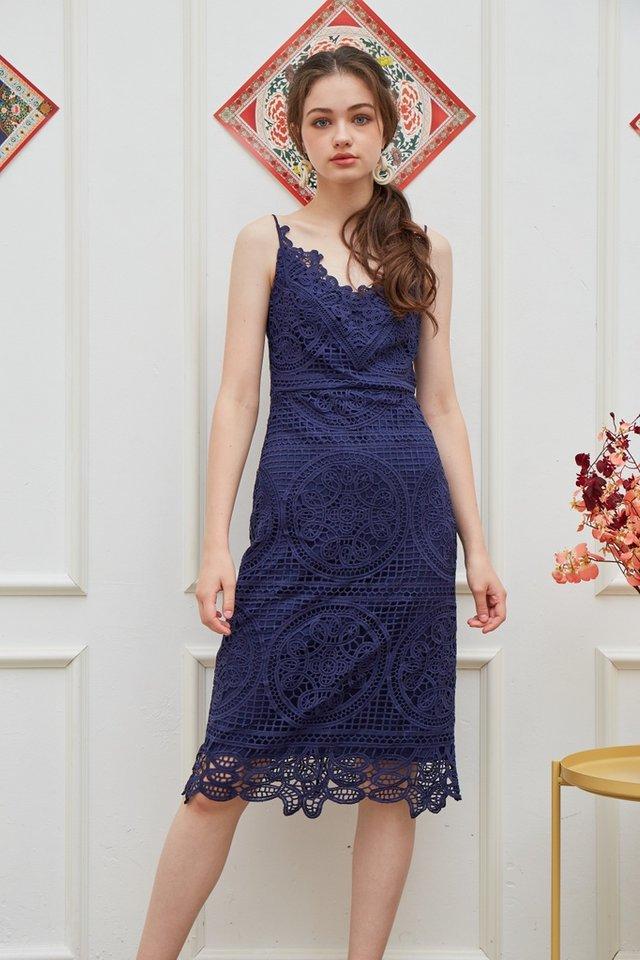 Kelsey Premium Crochet Midi Dress in Navy