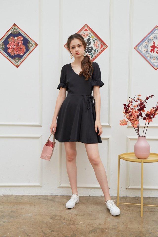 Stephany Overlap Flare Dress in Black (XS)