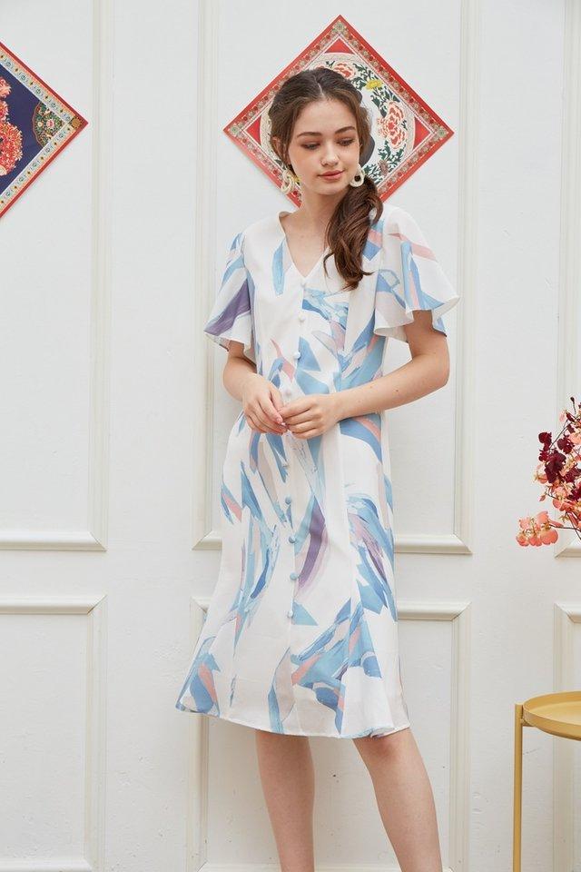 Odellia Abstract Button Midi Dress in Blue (XS)