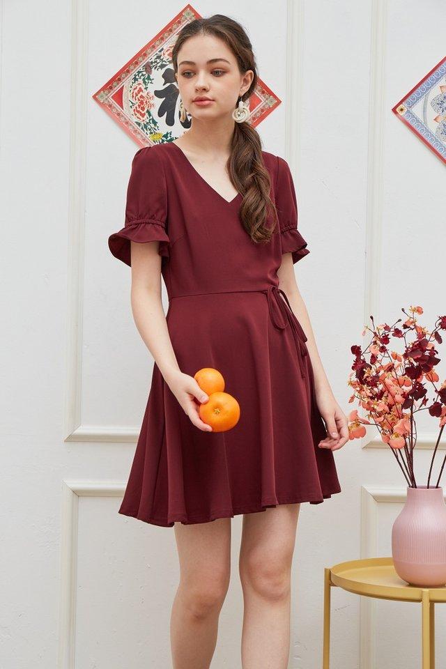 Stephany Overlap Flare Dress in Wine (XS)