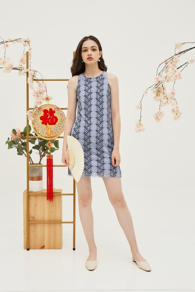 Carla Premium Halter Lace Dress in Light Blue