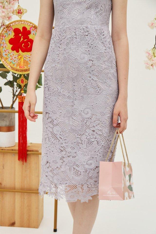 Juliet Premium Lace Midi Dress in Lavender Grey