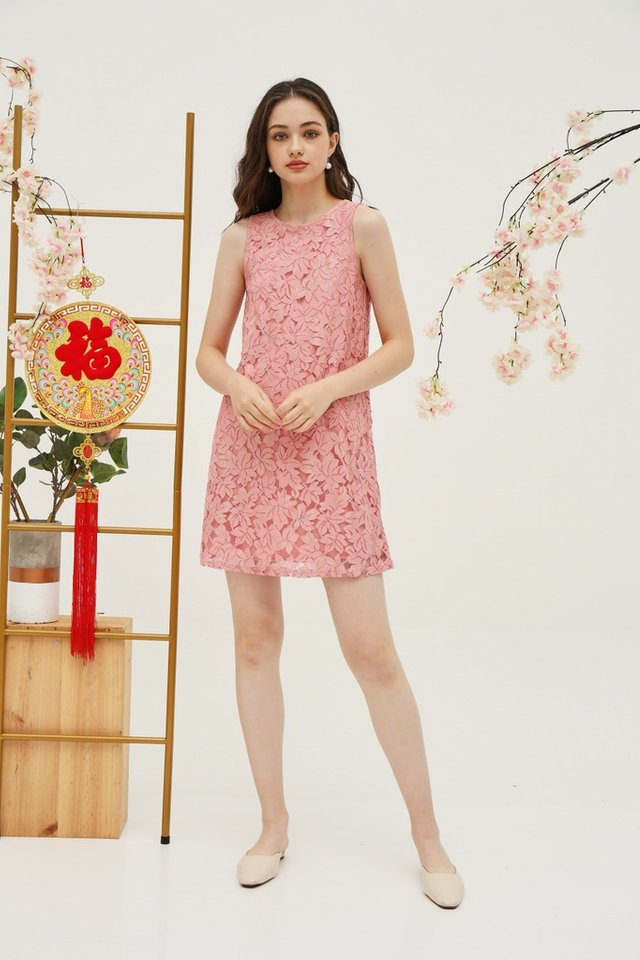 Megan Lace Trapeze Dress in Coral Pink