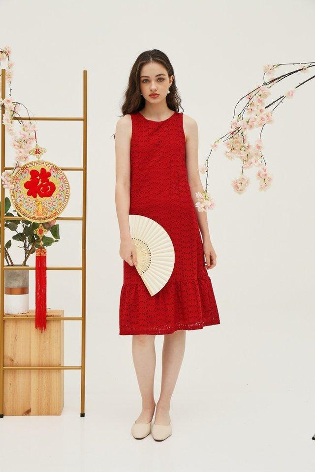 Yvette Premium Eyelet Dropwaist Midi Dress in Red (XS)